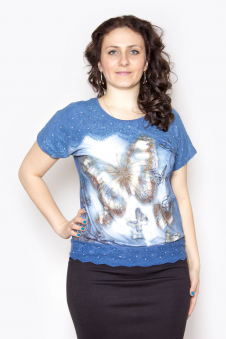 Блузка, цвет - джинсовый