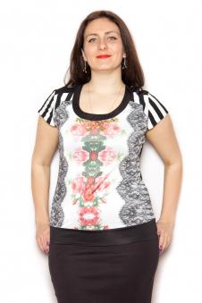Блузка, цвет - черно-белый