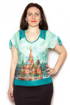Блузка, цвет - бирюзовый